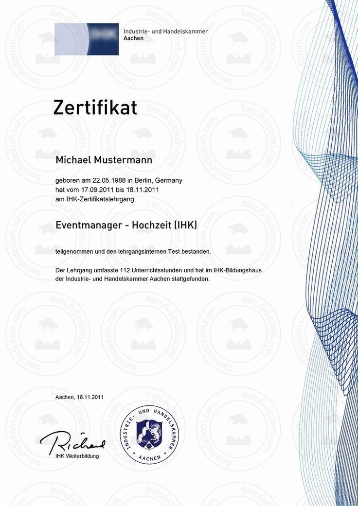 Fortbildungszertifikat kaufen IHK Zertifikat ► IHK Zertifikate & Teilnahmebestätigungen für berufliche Fortbildungslehrgänge und Fortbildungsseminare ► Reproduktion nach aktueller Vorlage (Deutschland)