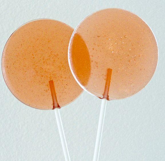 Peach Sweet Tea Gourmet Lollipops - Set of 7 - LARGE 2.5 Inch Lollipops. $11.25, via Etsy.