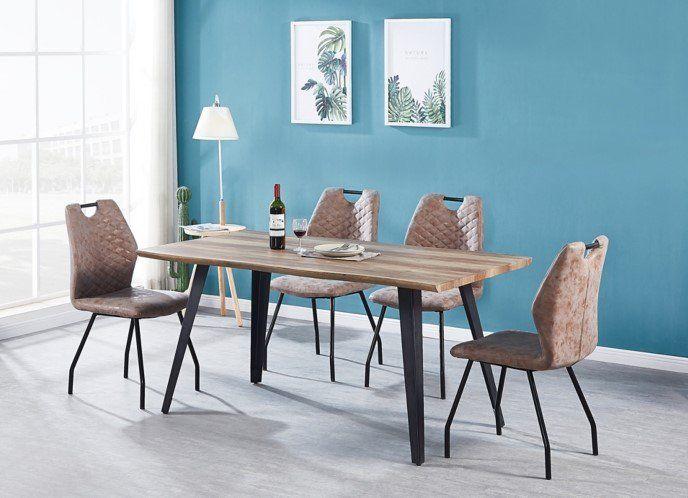 Table De Sejour Olken Imitation Chene Et Noir Pas Cher Table But Iziva Com En 2020 Table A Manger Pas Cher Table A Manger Mobilier De Salon
