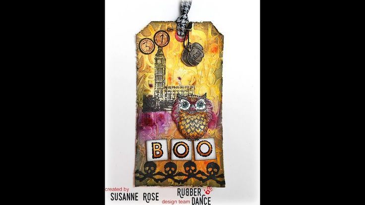 Mixed Media Halloween Tag Tutorial with Rubber Dance Stamps inspired by Tim Holtz
