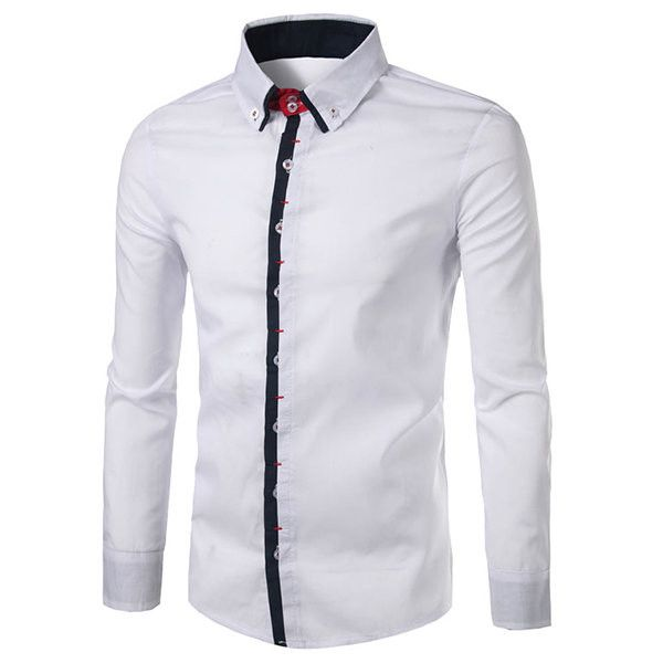 Casual Business Fashion Fit Stitching Dress Shirts for Men