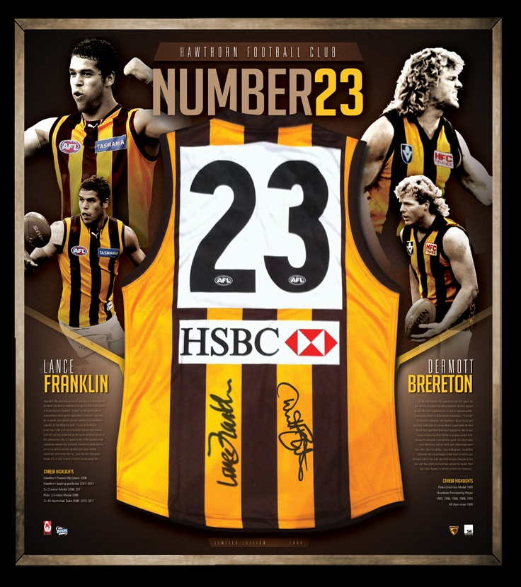 """Number 23"" Lance Franklin and Dermott Brereton is a · Hawthorn Guernsey Signed by Lance Franklin and Dermott Brereton · Limited Edition of only 200 units worldwide · Presented in a Deluxe Presentation Frame · Available June, 2012 · Accompanied by Certificate of Authenticity and authenticated by the AFL Players Association · Official Product of the Australian Football League and the Hawthorn Football Club"