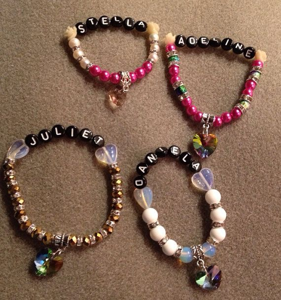 Personalized Name Tag Childrens Kids Teens Beaded Bracelets Choose 1 on Etsy, $28.00