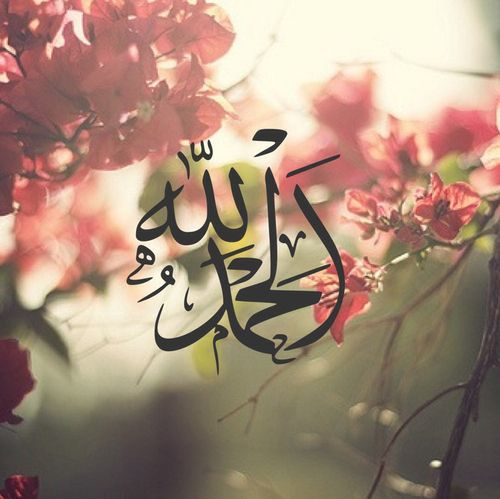 Arabic calligraphy on flowers – Alhamdulillah: All praise is due to Allah alone