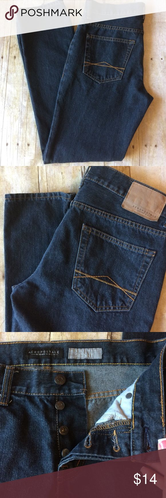 Aeropostale men's skinny jeans In good condition, sz is 30/30. Buttons instead of zipper Aeropostale Jeans Skinny
