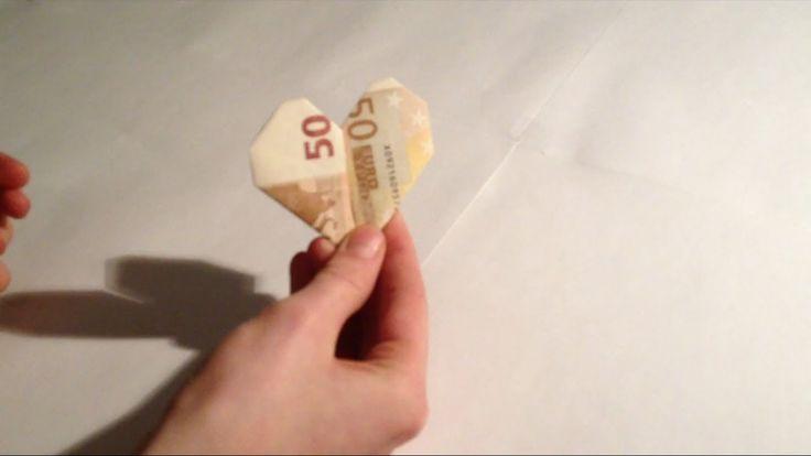 Ein Herz aus einem Geldschein (50 Euro Schein) falten - Anleitung