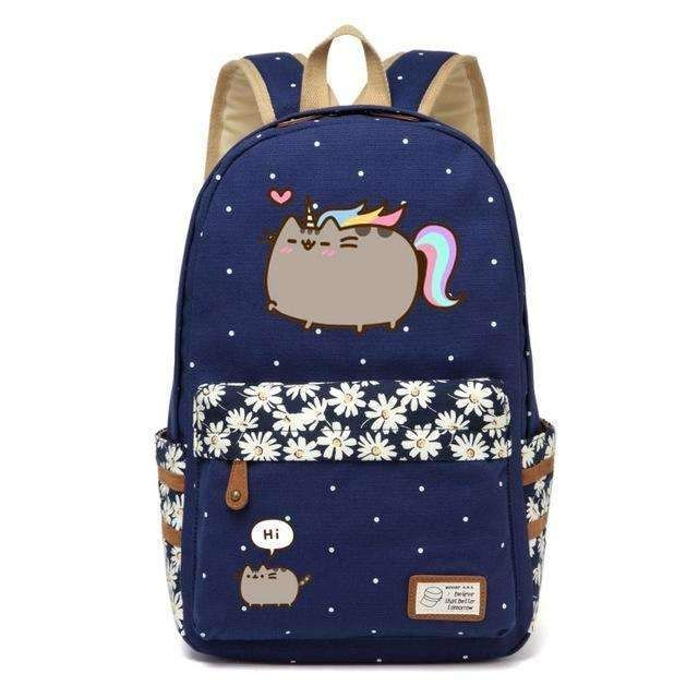 cc1e562b4c68 Pusheen Cat Canvas Bag Unicorn Flower Wave Point Rucksacks Backpack For Teenagers  Girls Women School Bags Travel Shoulder Bag