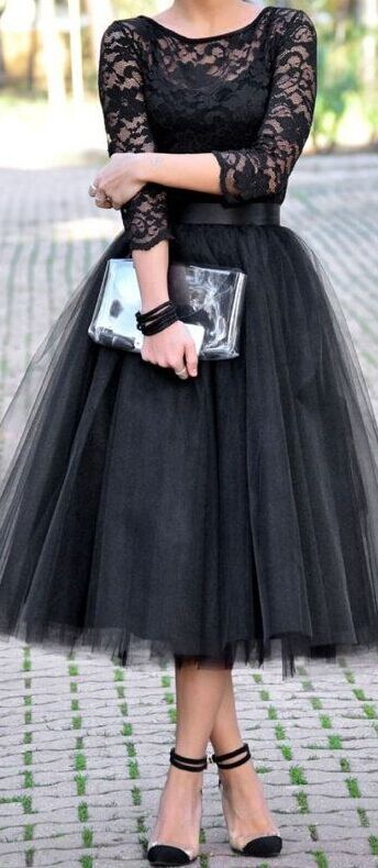 Long Sleeve Lace Black Prom Dress T