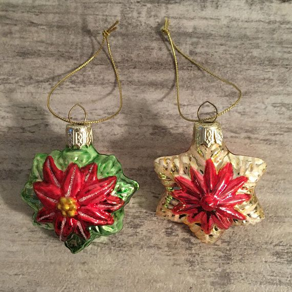 Vintage Glass Christmas Ornaments Red Poinsettia #christmasornamentsdecor #Christmas ##christmasornaments #pointsettia #ChristmasFlowers