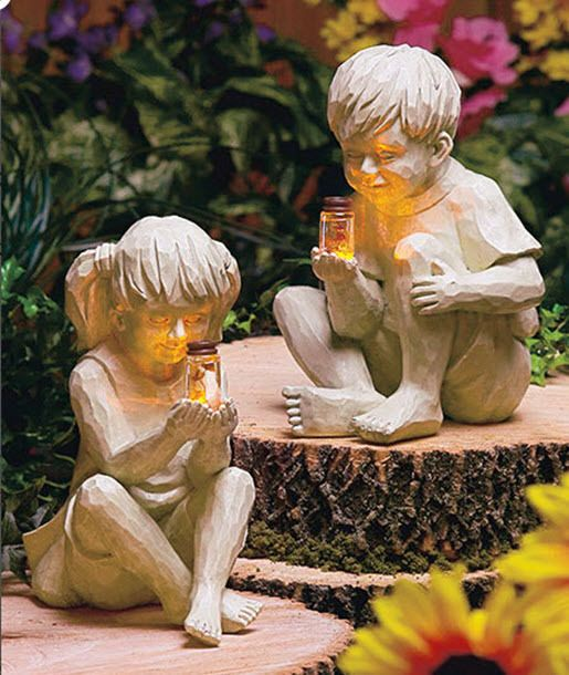 Kids Boy Girl Garden Statue Yard Decor Solar Lights