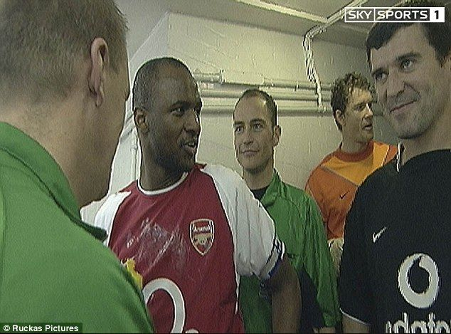 Roy Keane (right) and Patrick Vieira's row was broadcast from the players'…