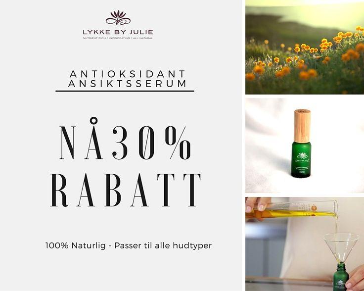 Nå er det 30% avslag på antioksidant ansiktsserum - klikk her http://lykkebyjulie.com/nb/produkt/ansiktsoljen/ får å motta tilbudet!