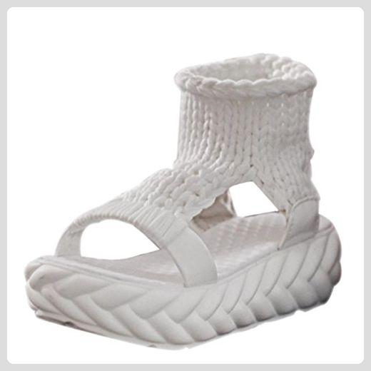 Rcool Damen Sandalen Sommer Schuhe auf Schuhe der Gladiatoren Damenschuhe (35, Weiß) - Sandalen für frauen (*Partner-Link)