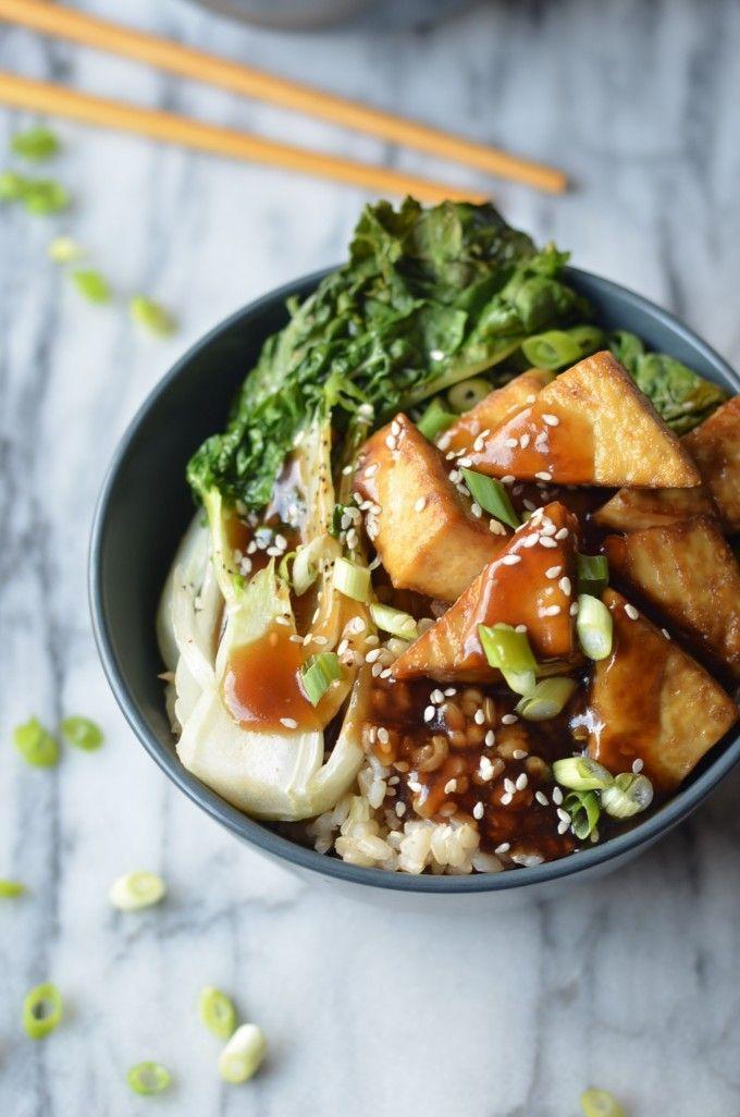Vegan Crispy Baked Tofu Teriyaki Bowl, with Rice, Bok Choi, Spring Onions & Sesame Seeds.