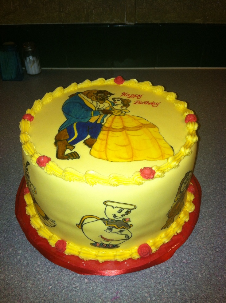 beauty and the beast birthday cake and the beast cake painted my cakes 1619