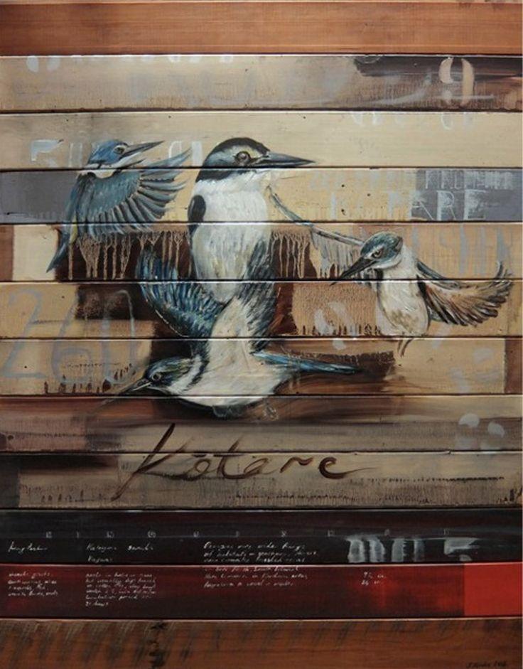 Jason Hicks Kingfisher Painting Art New Zealand Bird Birds