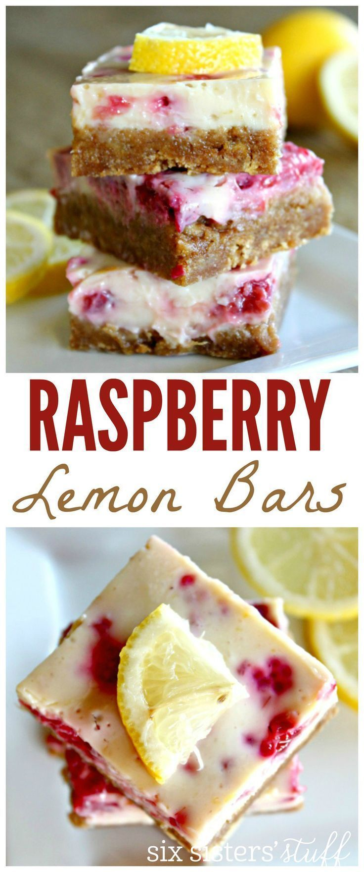Raspberry Lemon Bars from Six Sisters Stuff | Best Dessert Recipes | Bars and Brownies Ideas | Potluck Food | Spring Food Ideas | Easter Dessert