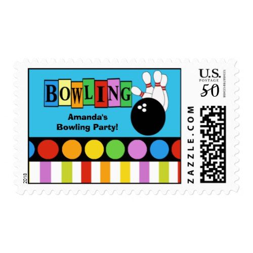 BOWLING PARTY CUSTOM POSTAGE STAMP