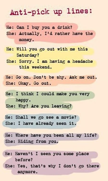 Clever Pick Up Line Comebacks. I could have used some of this these last weekend. LOL