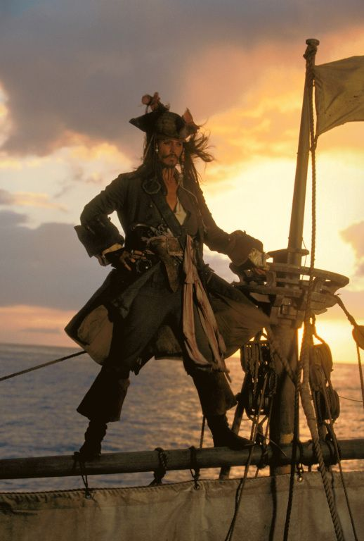 Captain Jack Sparrow - Johnny Depp in Pirates of the Caribbean: The Curse of the Black Pearl (2003).
