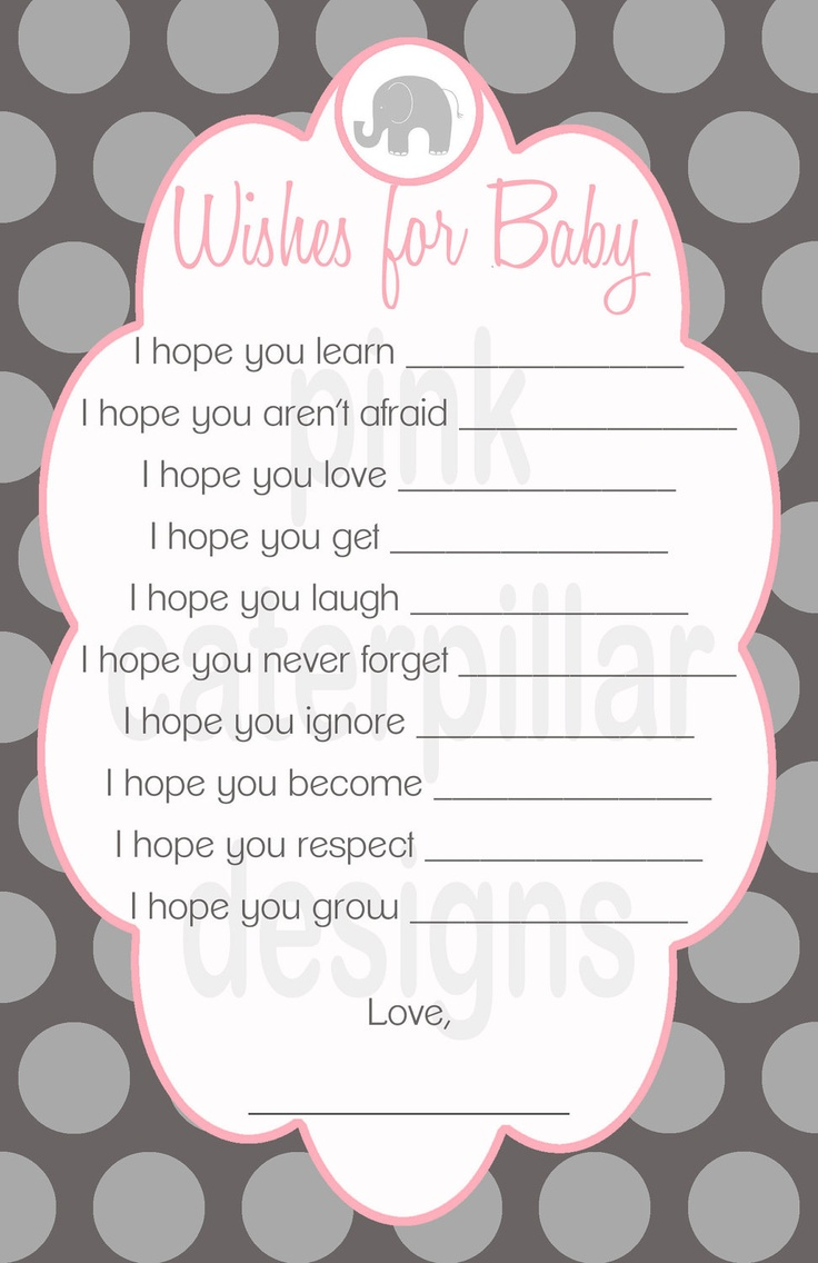 Pink and Grey Elephant Baby Shower Wishes for Baby - DIY Printable - CUSTOMIZABLE. $10.00, via Etsy.