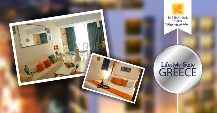 """Let the upbeat and stylish Mediterranean strokes of refreshingly beautiful colors captivate you when you dwell at our Lifestyle Suite """"Greece"""""""
