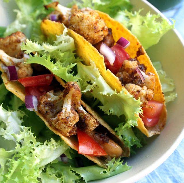Oppskrift Sunn Taco Blomkåltaco Ristet Blomkål Bønner Tacofyll Hjemmelaget Tacokrydder