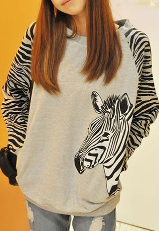 [grzxy6601317]Zebra Stripe Batwing Long Sleeve Sweatshirt Crewneck Top | cheershop - Clothing on ArtFire