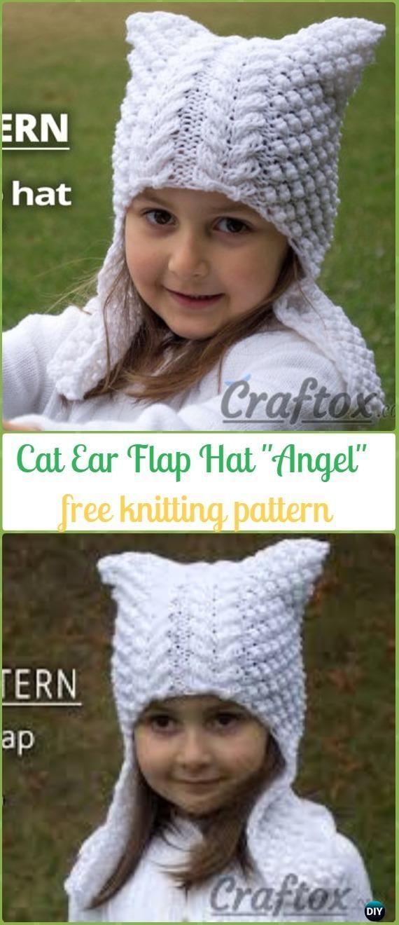 "Knit Cat Ear Flap Hat ""Angel""Free Pattern - Fun Kitty Cat Hat Free Knitting Patterns"