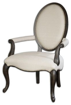 Champagne nailhead accents, graceful curves and cabriole legs. It all adds up to this splendid rendition King Louis XV armchair. Made from white mahogany in antiqued, black crackle finish and Teflon-treated linen fabric, this charming chair becomes the crowning glory in a sitting room or head of the table at your next dinner party.