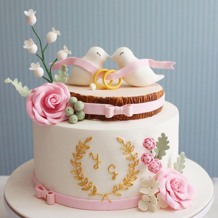 Elegant engagement cake by asli - http://cakesdecor.com/cakes/249491-elegant-engagement-cake