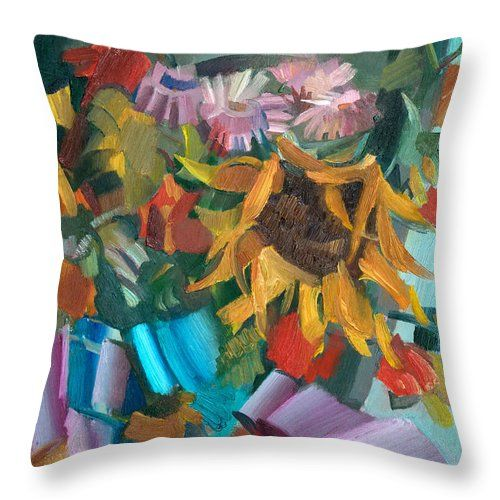 Flowers Throw Pillow featuring the painting Flowers And Apple by Nikolay Malafeev