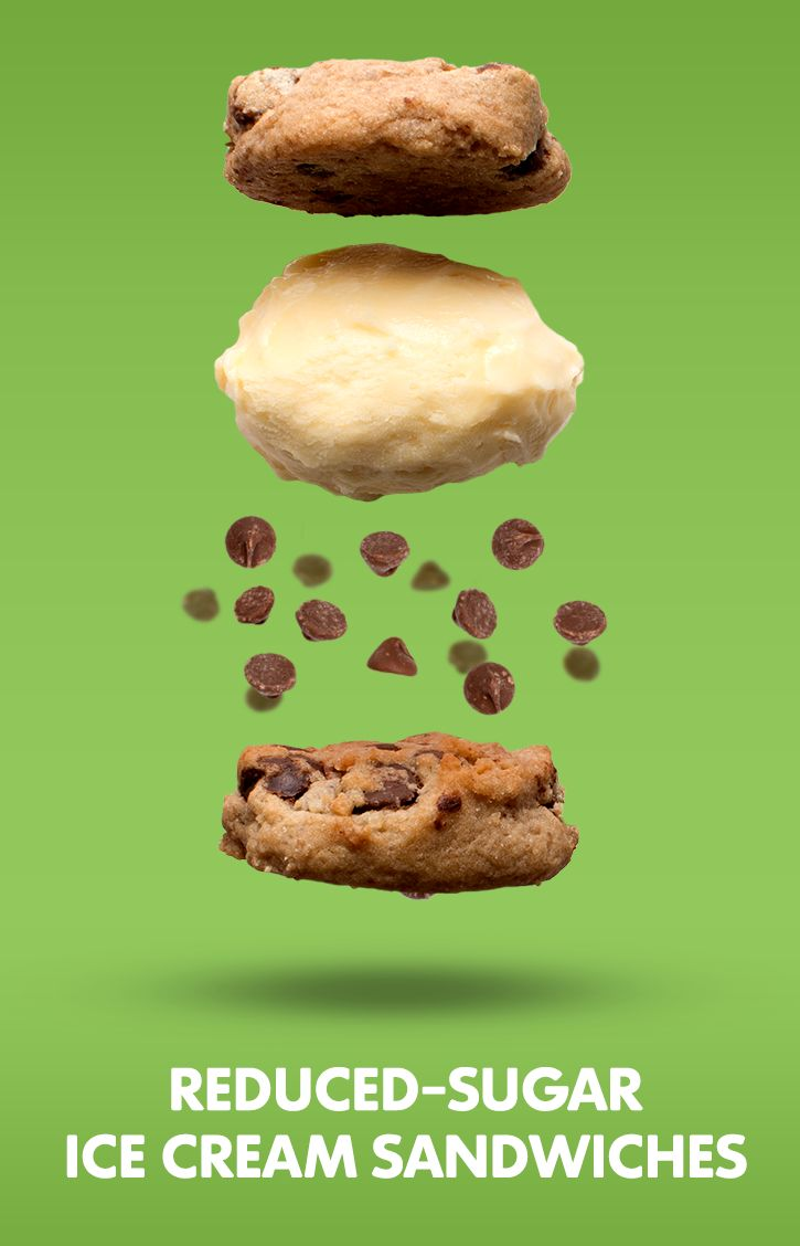 Ice cream, ice cream, we all scream for ... fro-yo sandwiches! Make 'em with our reduced sugar chocolate chip cookies and Kemps frozen yogurt. Recipe here: https://www.truvia.com/recipes/aunties-chocolate-chip-cookies