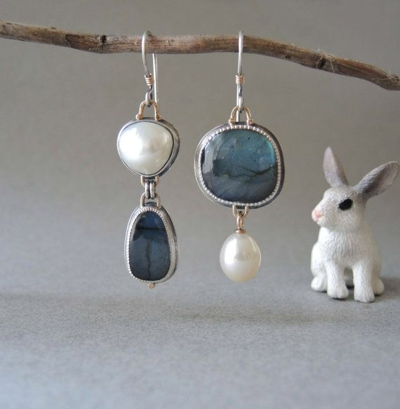 Asymmetrical Earrings Blue Labradorite and Pearls by betsybensen