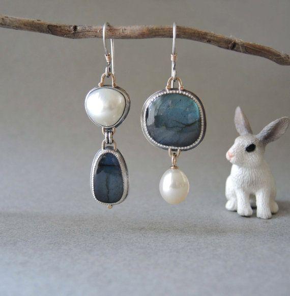 Asymmetrical Earrings Blue Labradorite and Pearls by betsybensen