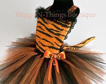 Tigre gato traje Tutu vestido 3pc conjunto con venda del oído
