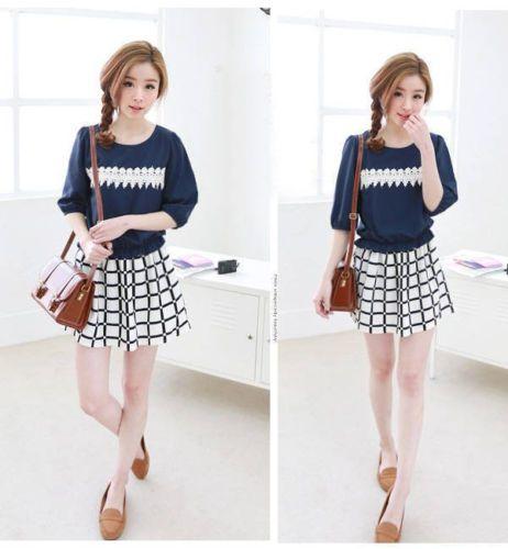 Korean Style Fashion Sweet Cute Crochet Lace Stitching Plaid Summer Dress | eBay