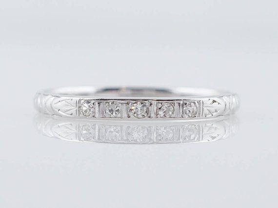 Art Deco Diamond Wedding Band in 18k White by FiligreeJewelers