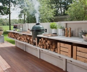 BBQ area makes smoking easy. Custom decks, outdoor kitchens, heating, patios, trellises, water features, hardscape and fencing, Lewis Builders can turn your front or back yard into your own personal get-a-way and make you the envy of all your neighbors. - www.lewisbuilder.com