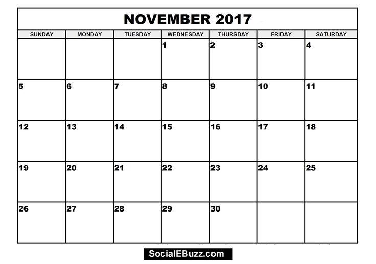 November Calendar  http://socialebuzz.com/november-2017-calendar-printable-template/