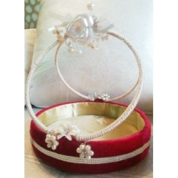 Decorated Red Round Basket