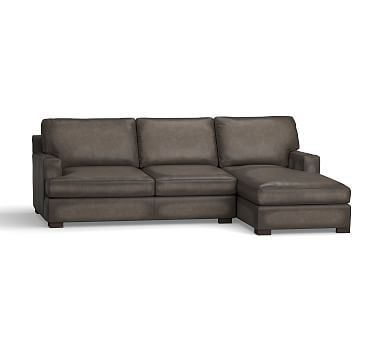Townsend Square Arm Leather Left Chaise Sofa Sectional, Polyester Wrapped Cushions, Leather Burnished Wolf Gray
