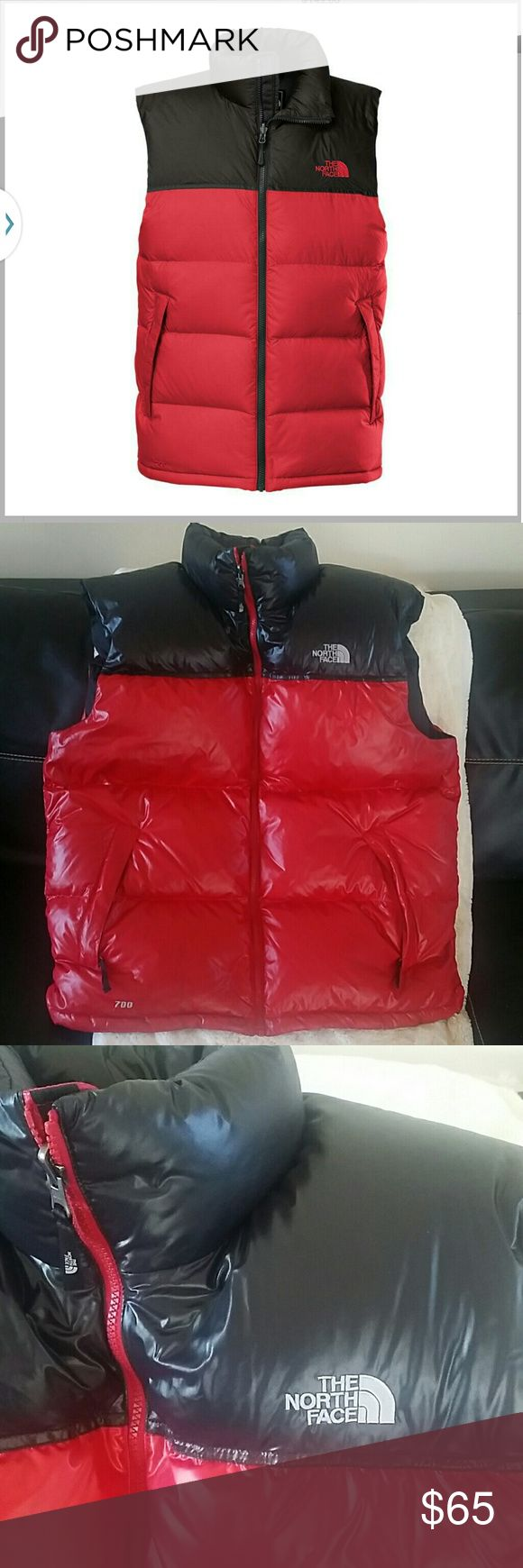 Men XL North Face Puffer Nuptse Vest Red Black Classic Insulated goose down. Worn a few times..Has some staining as shown on last picture..faint lines.. Can see.in front bottom left side of vest. Good condition otherwise.... Final Offer.  Additional pics posted in closet... The North Face Jackets & Coats Puffers