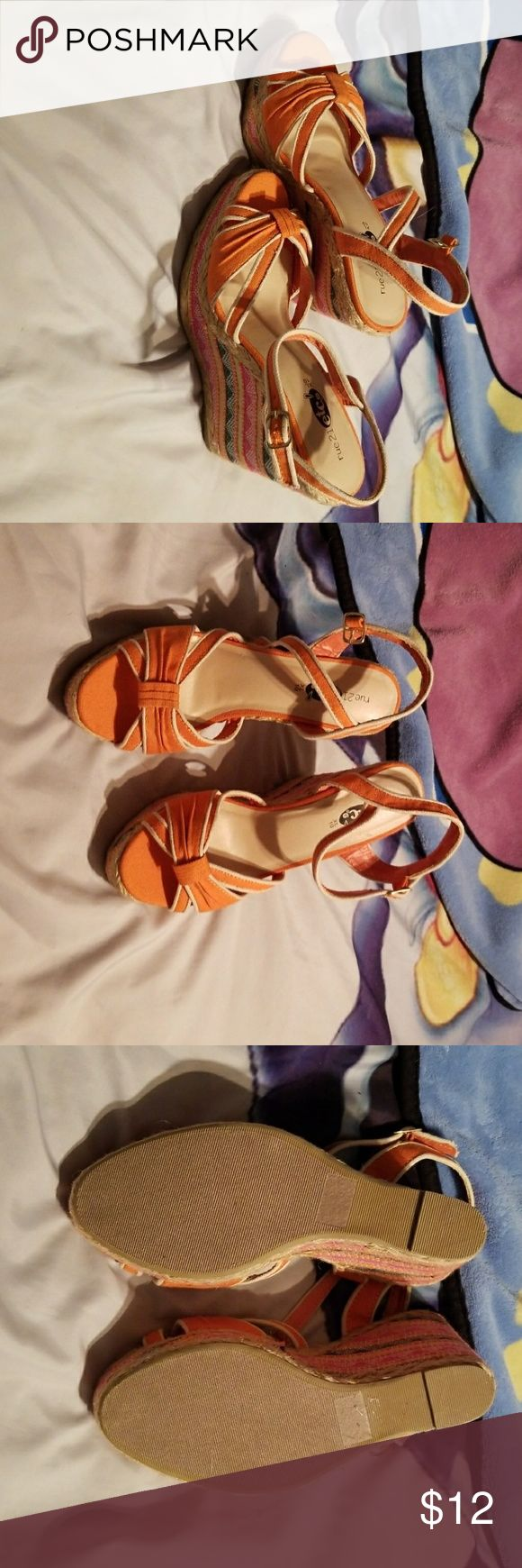Orange wedges These are a new never been worn except for in the house for a few minutes wedges, these are orange and white as your basic color but the wedges have navy blue, magenta and green strips on them, super cute... They have a 5inch heel... Rue 21 Shoes Wedges