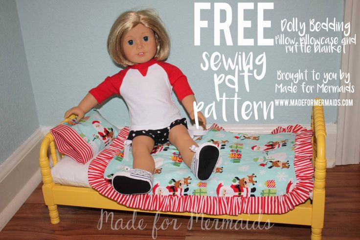 FREE dolly bedding pdf sewing pattern! Includes pillow, pillowcase and ruffle blanket.