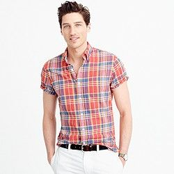 Slim Indian madras shirt in dark guava