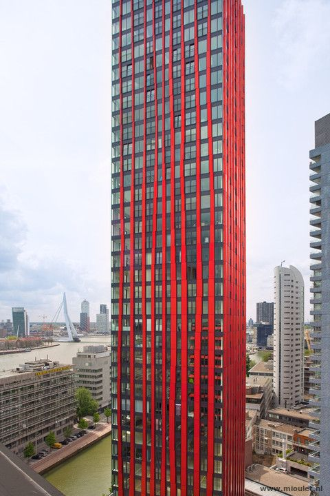 ○ Red Apple, Rotterdam, the Netherlands. Residential tower build on an island in the center of Rotterdam. Architect: KCAP