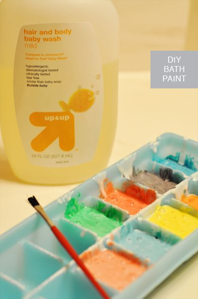 Homemade Bathtup Paint ~  Mix equal parts of soap and cornstarch with a spoon.  (I mixed 1/4 cup soap, 1/4 cup cornstarch and it seemed like the perfect amount) Place a little bit of mixture in each compartment of the ice cube tray. Add 1-3 drops of food coloring per compartment depending on how vibrant you want the color.