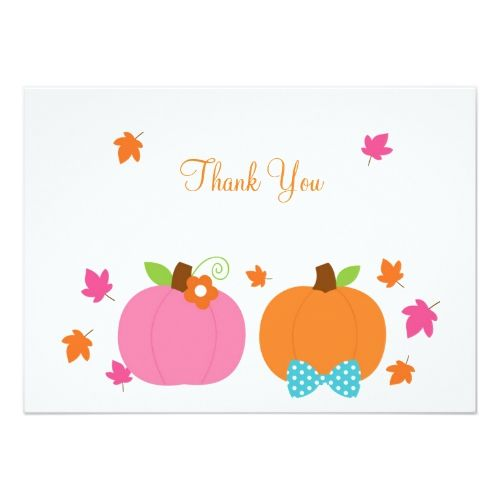 Fall Pumpkin Gender Reveal Thank You Cards