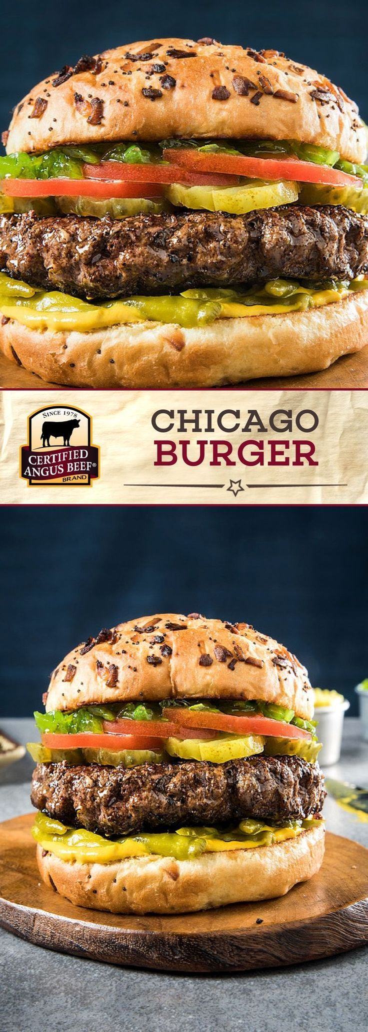 The Chicago Burger is a Certified Angus Beef®️️️ brand lean ground beef burger that is PACKED with flavor! The BEST ground beef is mixed with celery salt and black pepper before being pan seared or grilled. Complete each burger with pickles, tomato, neon relish and onion and poppy seed buns for a DELICIOUS burger recipe! #bestangusbeef #certifiedangusbeef #beefrecipe #burgerrecipe